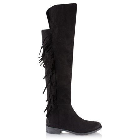 Marco Tozzi Imit Suede Tassel Long Boot - Black