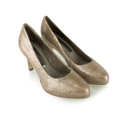 Tamaris  Leather Metallic Court Shoe - Brown