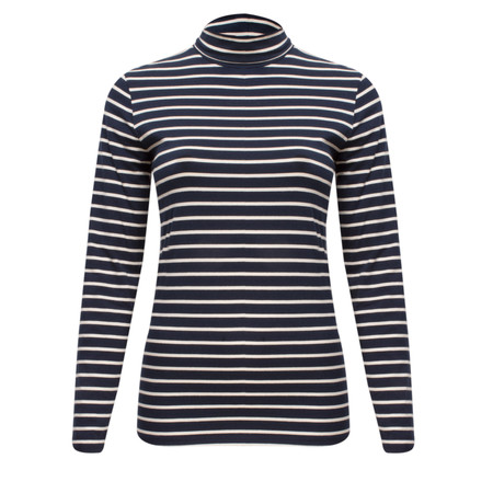 Great Plains Weekend Stripe Polo Neck Top - Blue