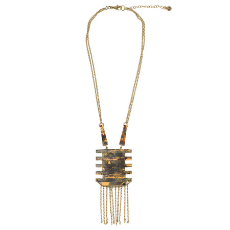 Sandwich Clothing Absract Pendant And Tassel Necklace - Beige