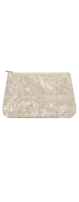 Gemini Home Sequin Zip Bag Cream