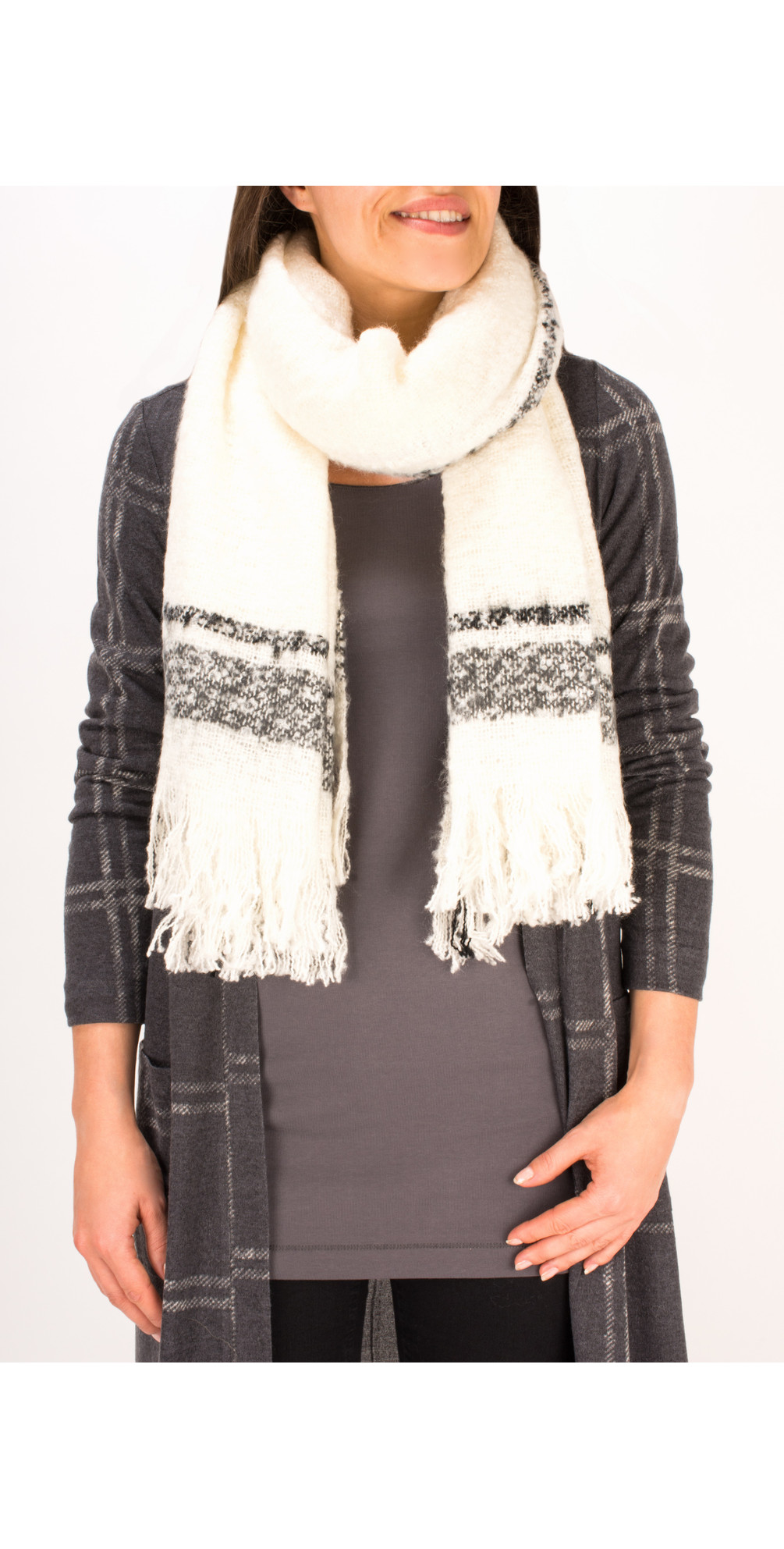 Checked Chunky Boucle Scarf main image