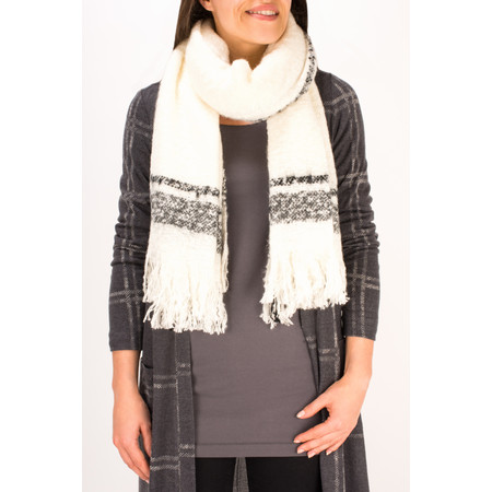Sandwich Clothing Checked Chunky Boucle Scarf - White