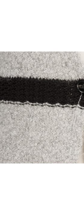 Sandwich Clothing Long Alpaca Blend Striped Cardigan Light Grey HTR
