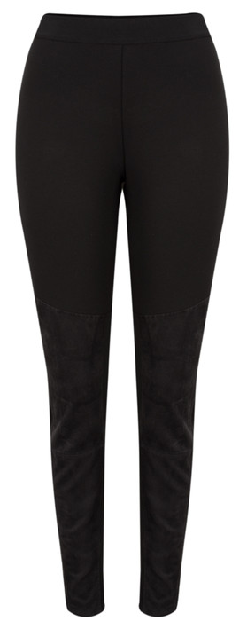 Sandwich Clothing Faux Suede Panel Legging  Black