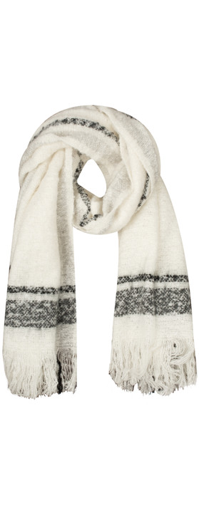 Sandwich Clothing Checked Chunky Boucle Scarf Washed Chalk