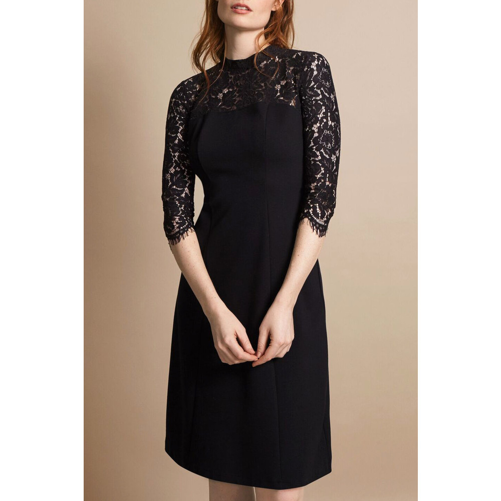 Great Plains Georgia Lace Keyhole Dress True Black