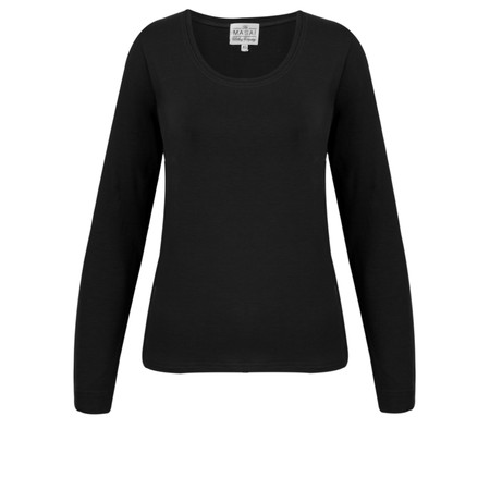 Masai Clothing Basic Cream Long Sleeve Top - Black