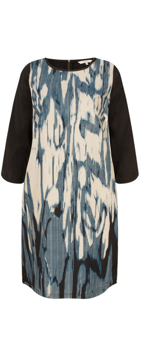 Sandwich Clothing Stained Ikat Print Dress Intense Teal