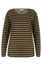 Sandwich Clothing Natural Camel Long Sleeve Striped Top