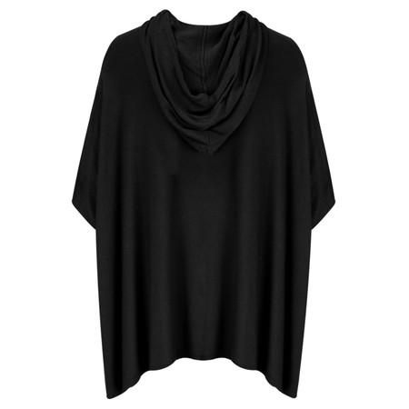 Arka Nina Soft Knit Poncho with Hood - Black