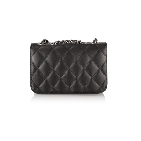 Pure White Premi Chanel Style Small Flap Bag - Black