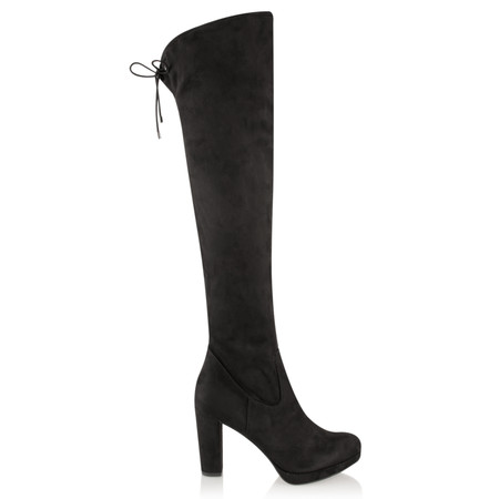 Tamaris  Over Knee Faux Suede Platform Boot - Black