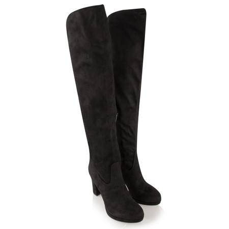 Tamaris  Over Knee Faux Suede Platform Boot - Black