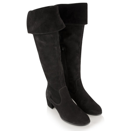 Tamaris  Over Knee Suede Boot - Black