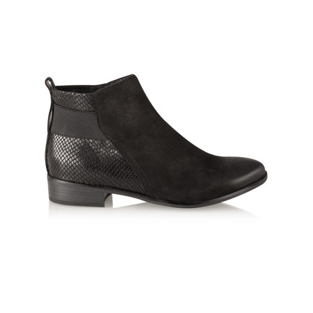Marco Tozzi Antic Leather Ankle Boot - Black