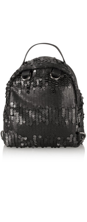 AlexMax Cara Matt Sequin Mini Backpack Black