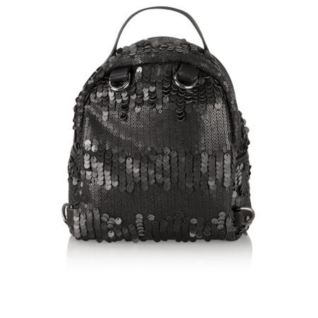 AlexMax Cara Matt Sequin Mini Backpack - Black