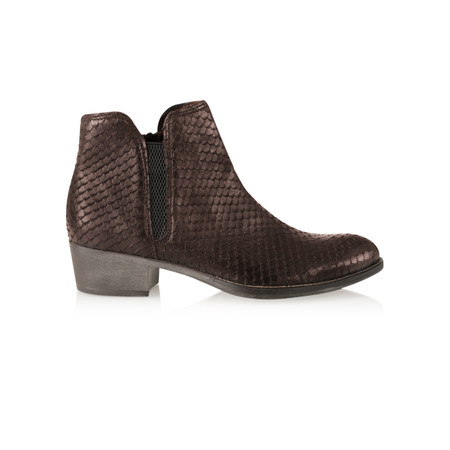 Tamaris  Textured Leather Ankle Boot - Brown