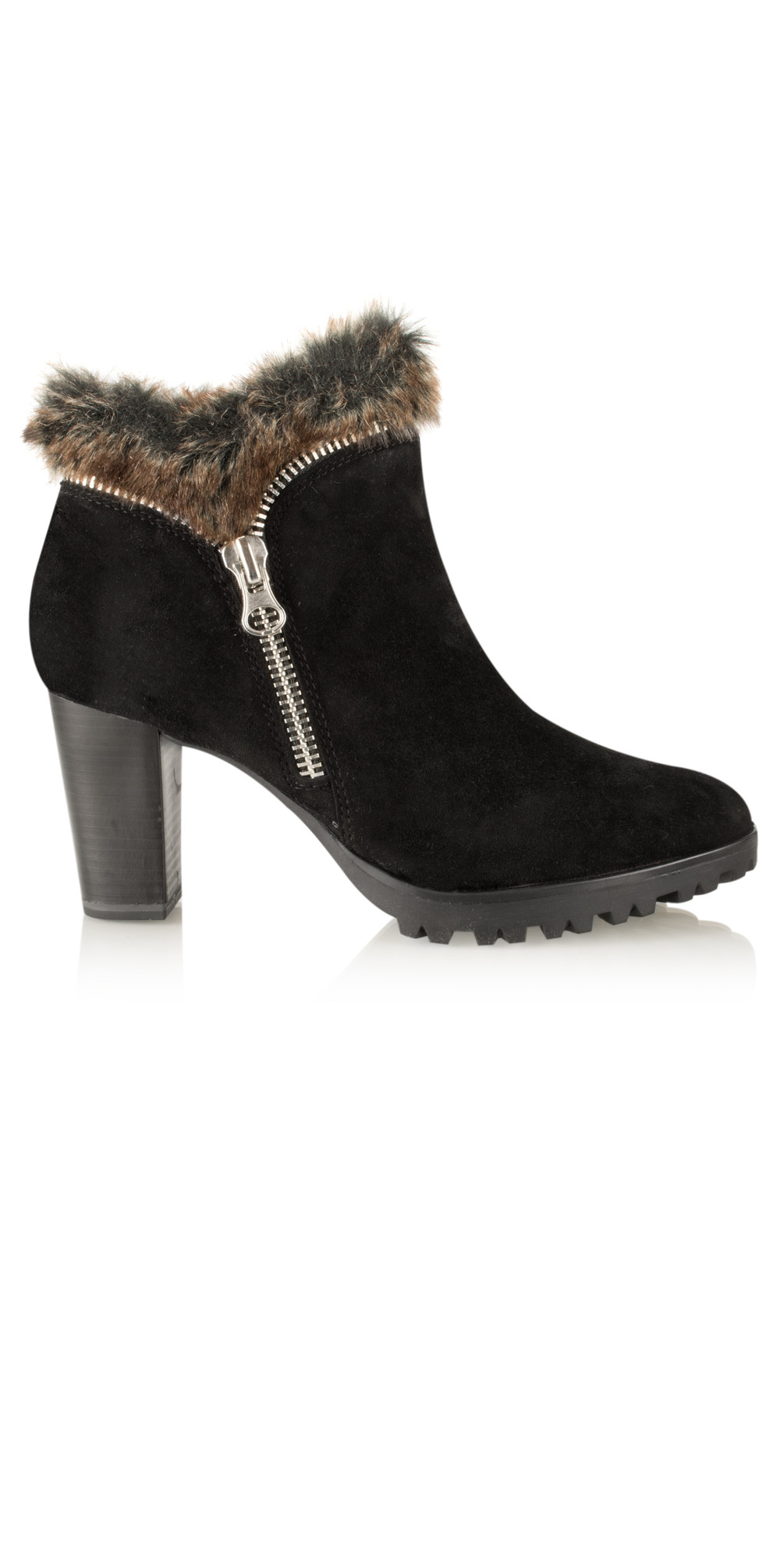 cee6e375f4b Black Suede Fur Trim Ankle Boot