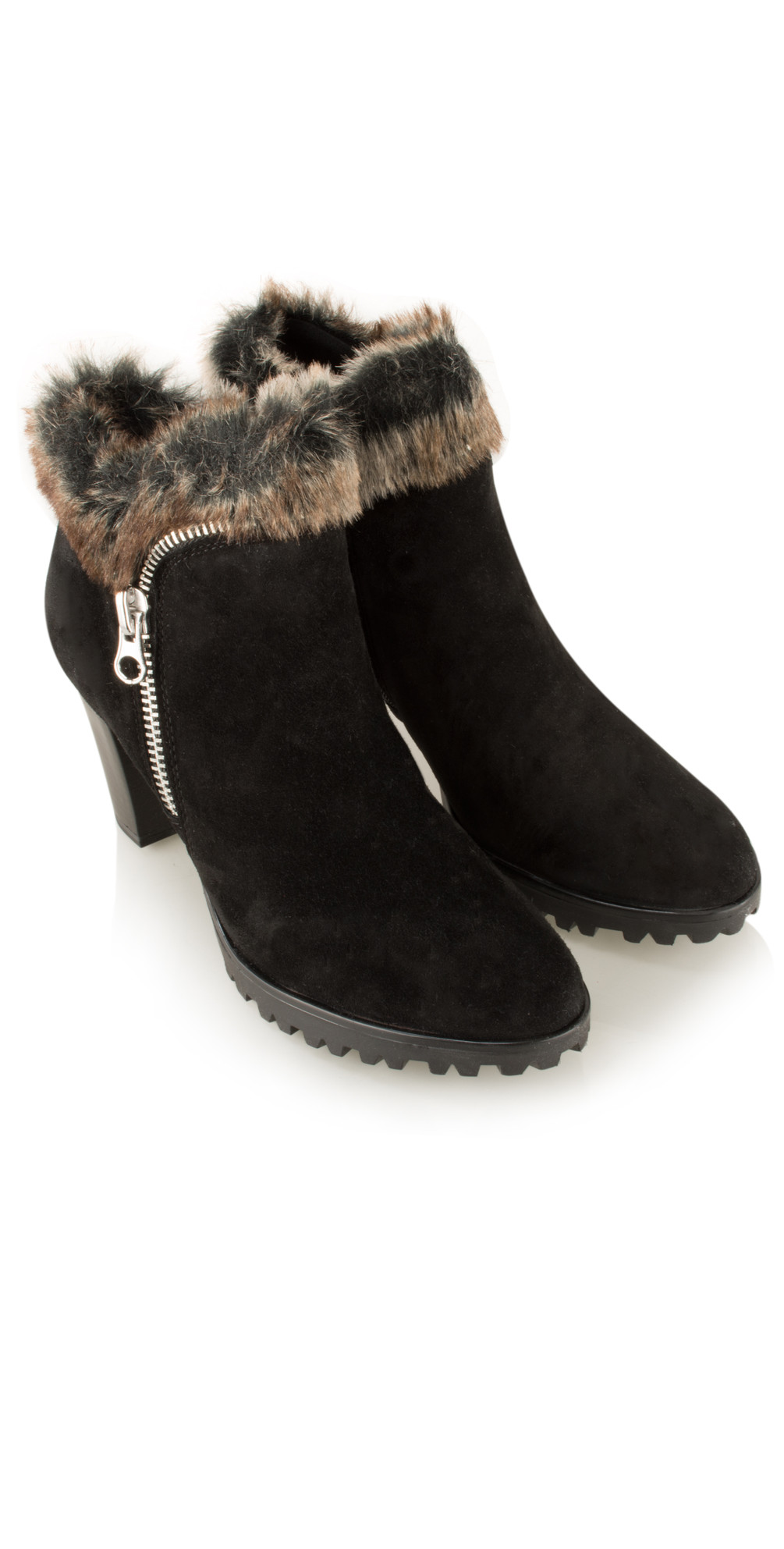 d0b47153974 Caprice Footwear Suede Fur Trim Ankle Boot in Black