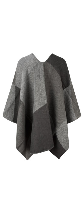 Sandwich Clothing Check Weave Poncho Grey Pebble