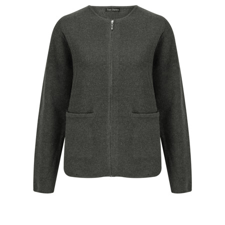 Two Danes Barbara Zip Front Cardigan - Black