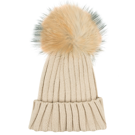 Bitz of Glitz Anna Ribbed Beanie Hat - Beige