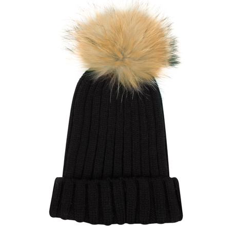 Bitz of Glitz Anna Ribbed Beanie Hat - Black