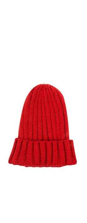 Bitz of Glitz Anna Ribbed Beanie Hat Red