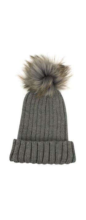 Bitz of Glitz Anna Ribbed Beanie Hat Mid Grey