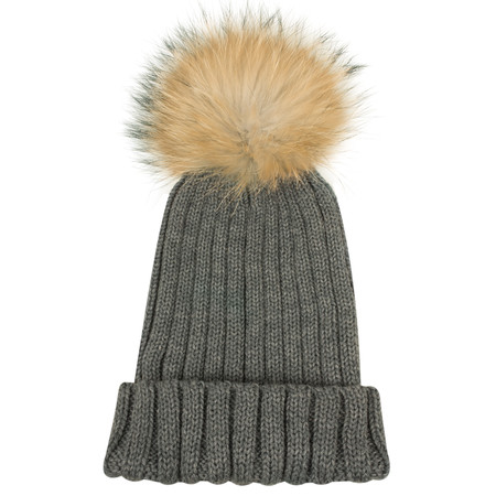 Bitz of Glitz Anna Ribbed Beanie Hat - Mid Grey