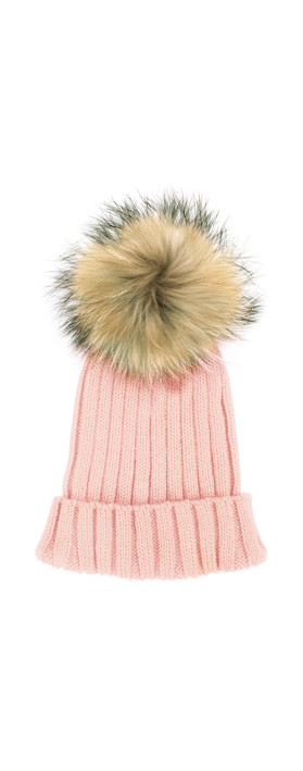 Bitz of Glitz Anna Ribbed Beanie Hat Light Pink