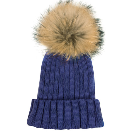 Bitz of Glitz Anna Ribbed Beanie Hat - Blue