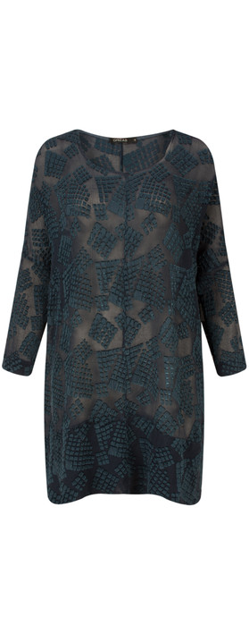 Grizas Silk Devore Tunic 421 Navy