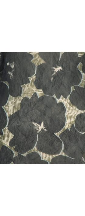 Sandwich Clothing Sheer Crinkle Floral Print Top Grey Magnet