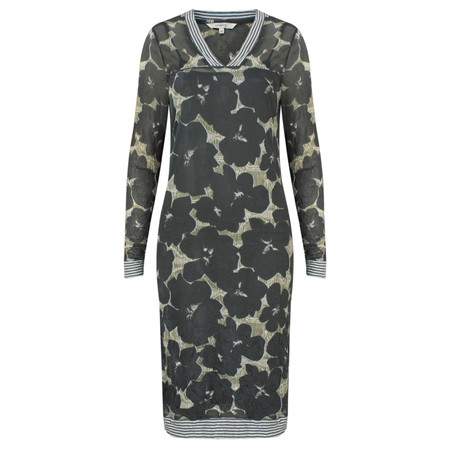 Sandwich Clothing Sheer Crinkle Floral V-Neck Dress - Grey