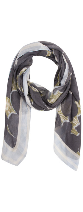 Sandwich Clothing Floral Print Woven Scarf Grey Magnet
