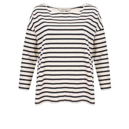 Great Plains Take It Easy Long Sleeve Striped Tee - Beige