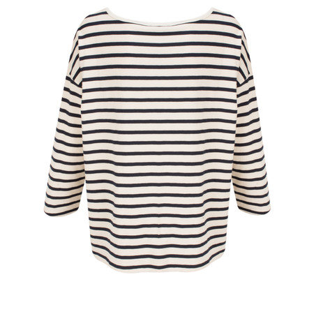 Great Plains Take It Easy Oversized Striped T-Shirt - Beige
