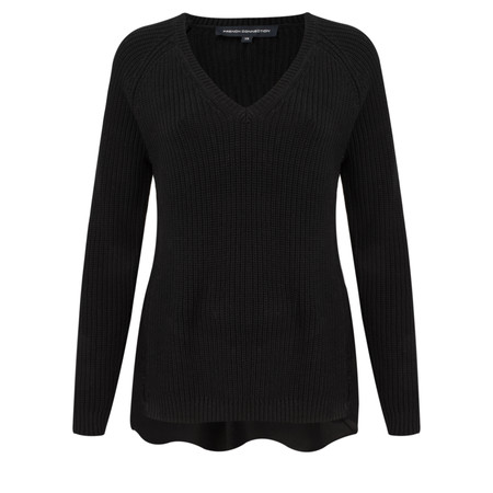 French Connection Mozart Hybrid Woven Back Jumper - Black
