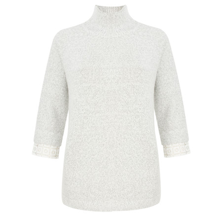 French Connection Lola Lace Knits Long Sleeve High Neck Jumper - Grey