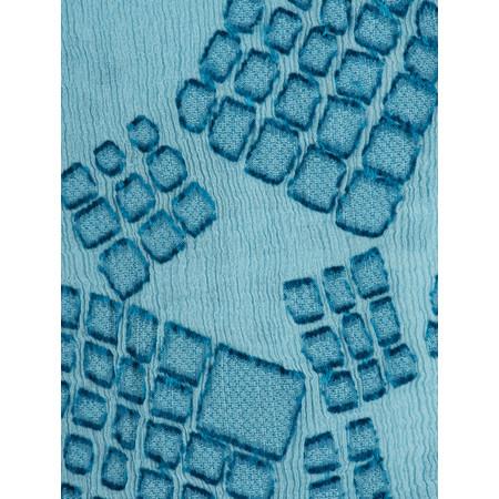 Grizas Silk Devore Check Scarf - Blue