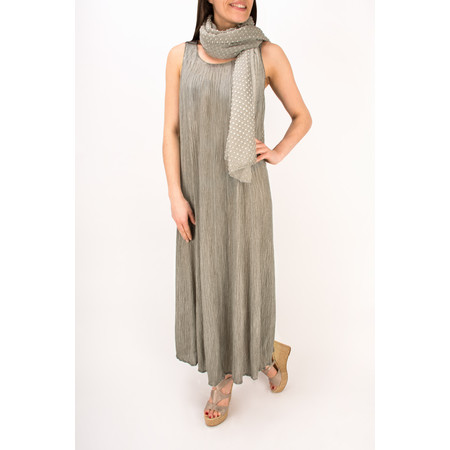 Grizas Oliato Crinkle Silk Long Dress - Grey