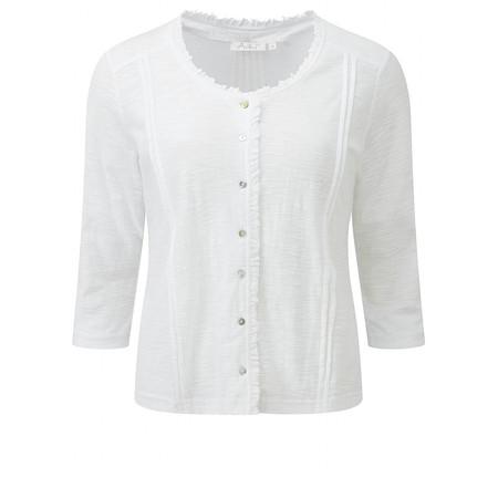 Adini Solid Slub Jade Cardigan - White