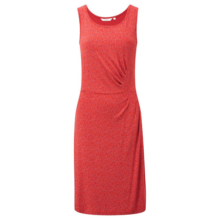 Adini Coral Print Coral Dress - Orange