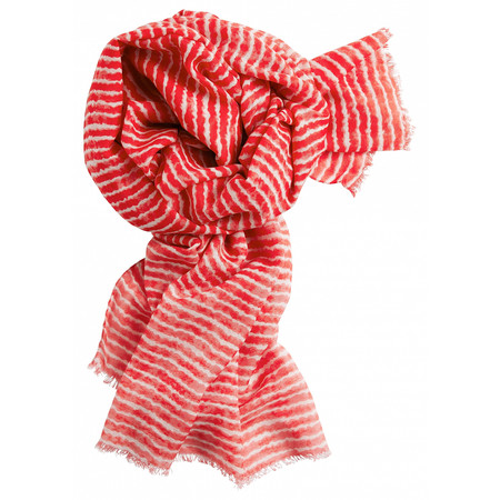 Sandwich Clothing Silk & Wool Mix Stripe Scarf - Red