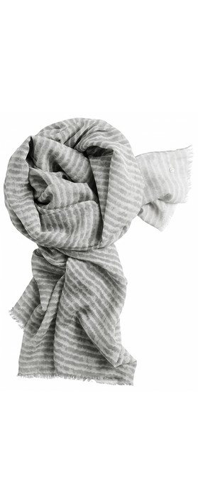 Sandwich Clothing Silk & Wool Mix Stripe Scarf Light Stone