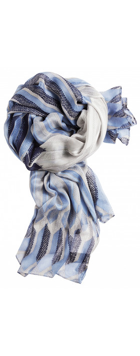 Sandwich Clothing Abstract Geometric Print Scarf Washed Blue