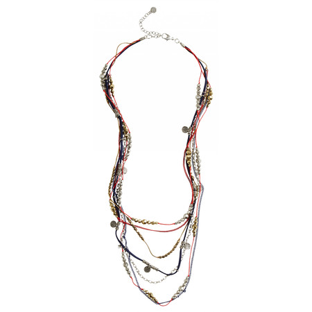 Sandwich Clothing Beaded Necklace with Multi Chains - Red